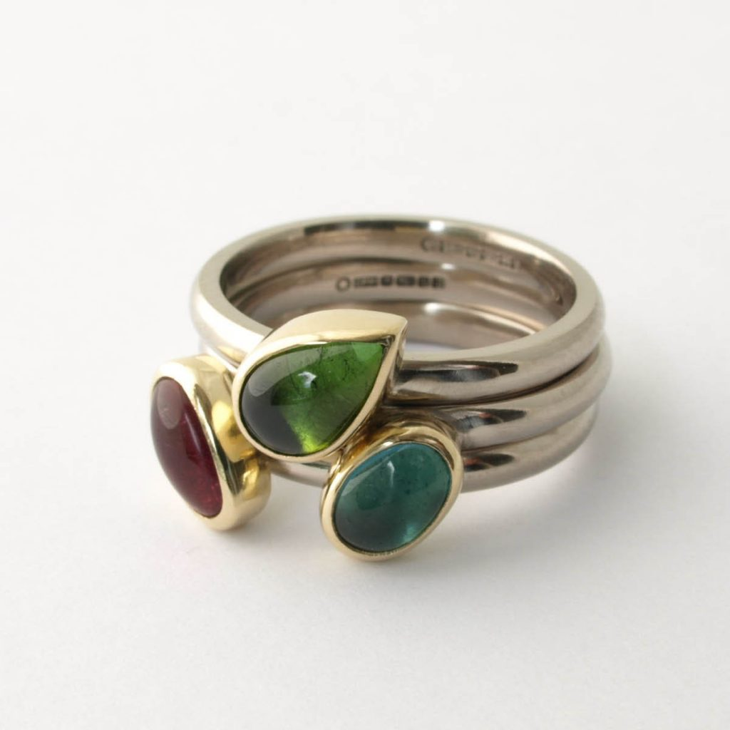 Commission 18ct white and yellow gold stacking rings with tourmalines 2