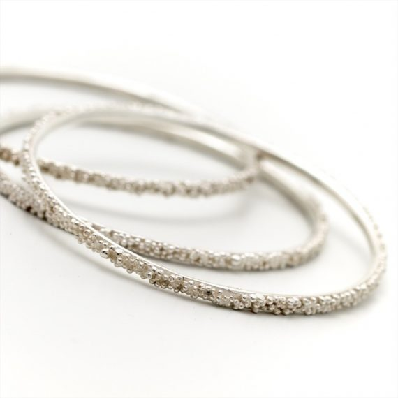 silver beaded narrow bangles