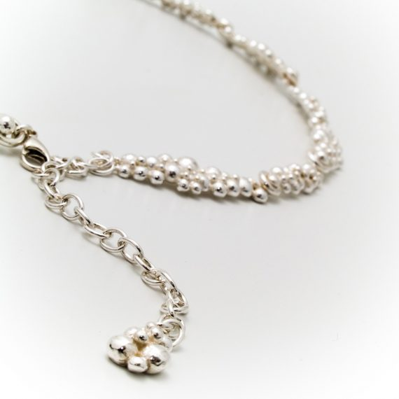 silver beaded continuous necklace