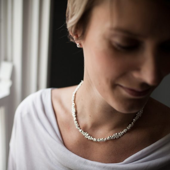 silver continuous beaded necklace