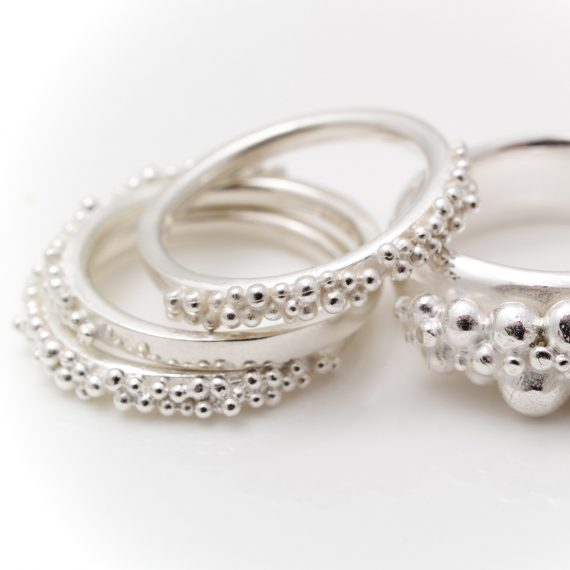 Silver narrow beaded ring