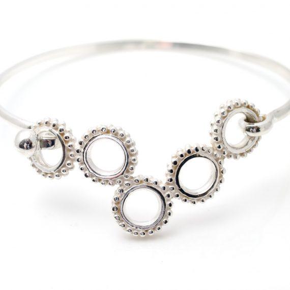silver 5 beaded ring bangle