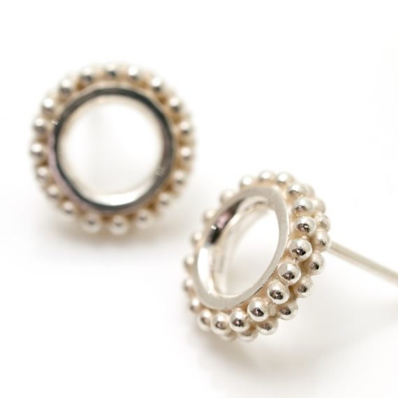 silver beaded ring earring stud