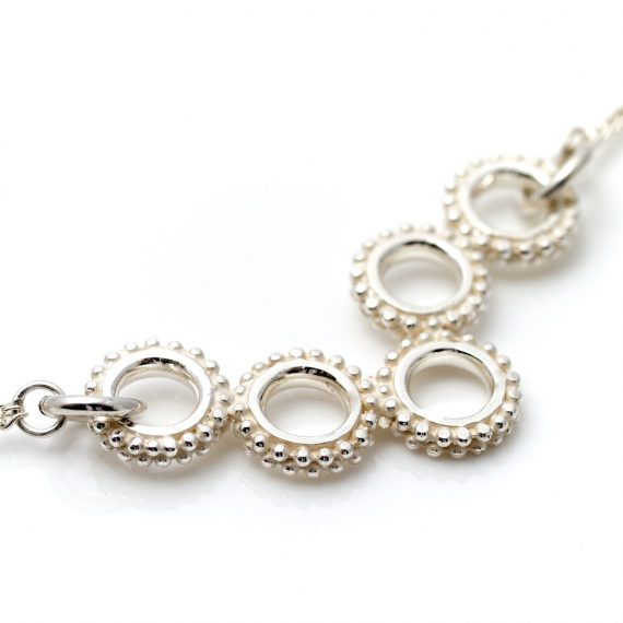 silver 5 beaded ring small necklace