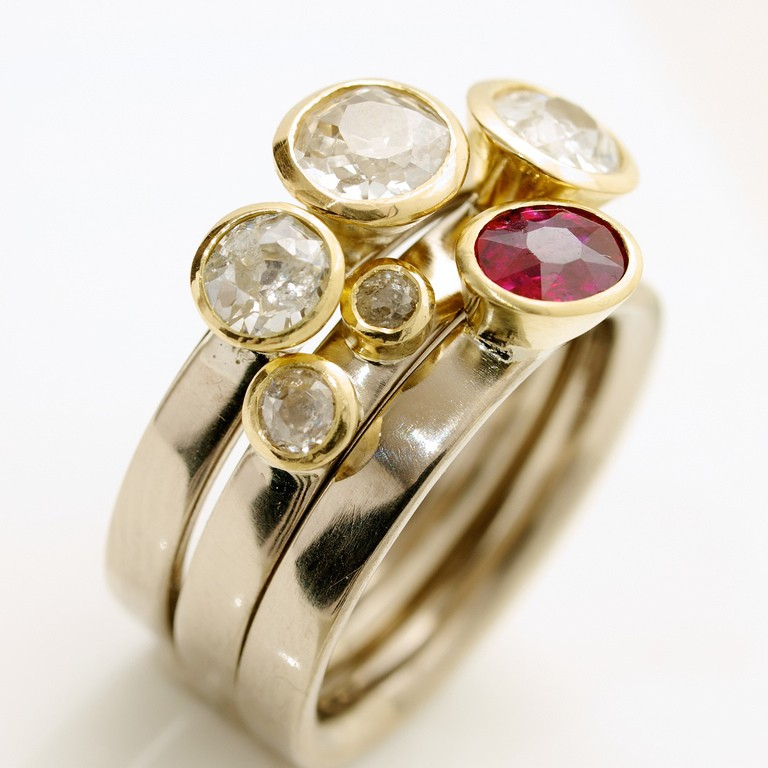 18ct white gold stacking rings with old cut Diamonds and Ruby