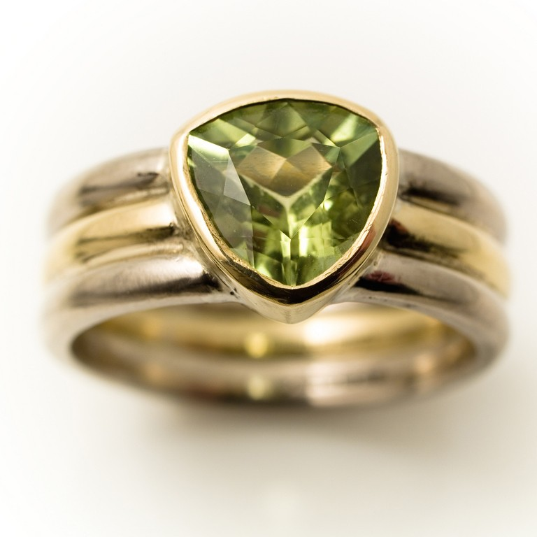 commission 18ct gold 3 band ring with triangle green tourmaline