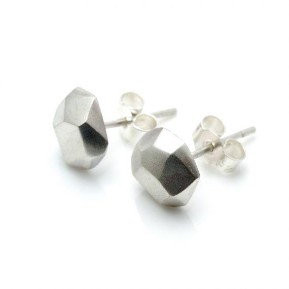 Silver Flint Earring Stud