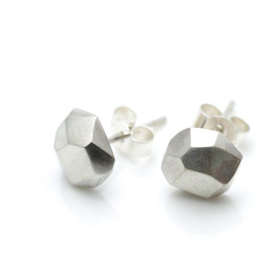 Silver flint stud earrings