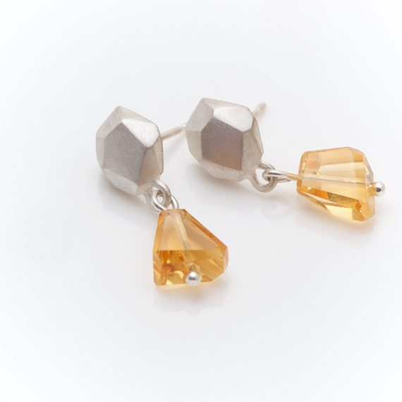 Silver geometric stud with citrine