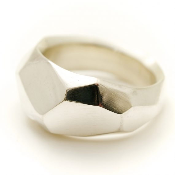Silver large flint ring polished finish