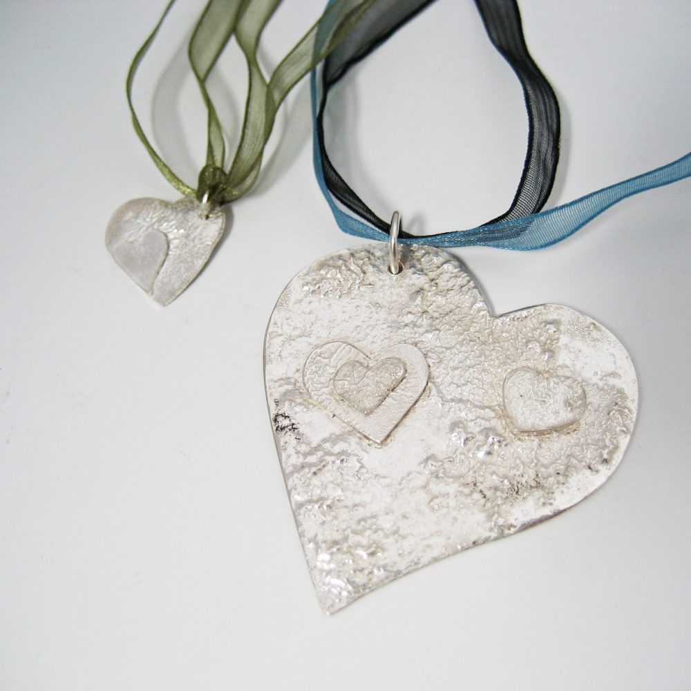 student project reticulated heart pendants