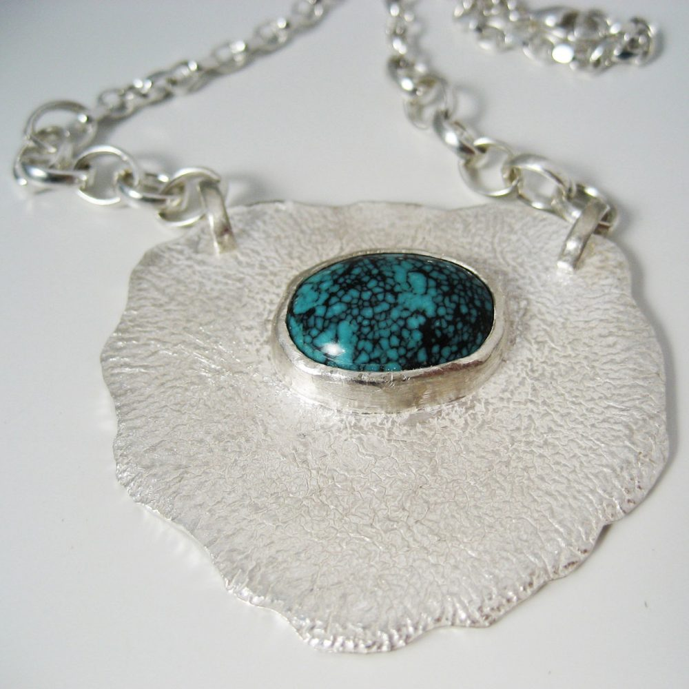student project turquoise reticulated necklace