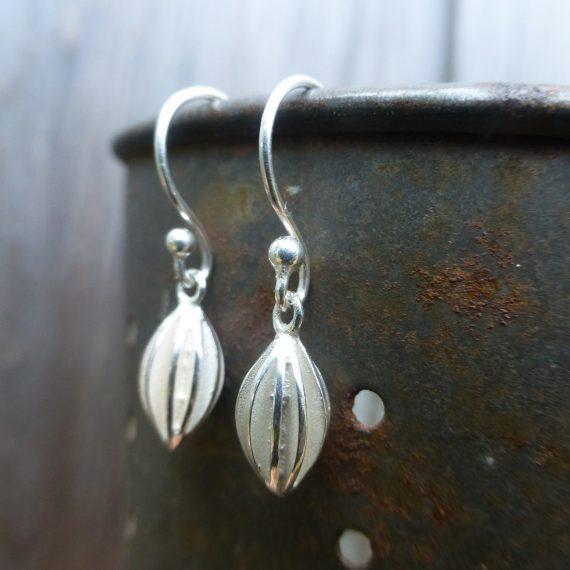 small silver pod drop earrings