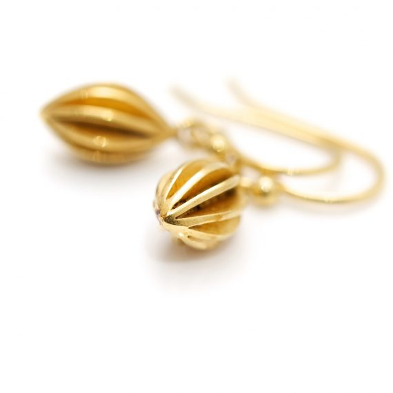 gold plated small pod drop earrings
