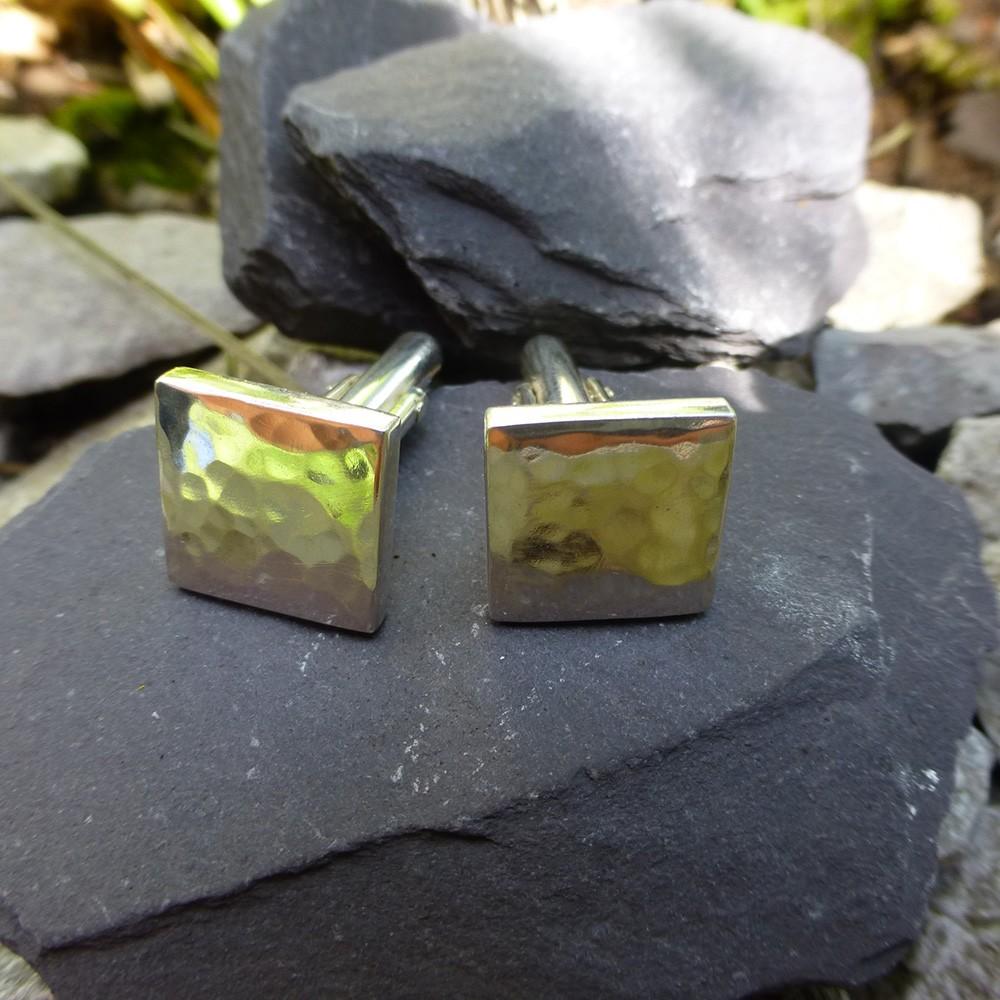 Square amethyst stud drop earrings
