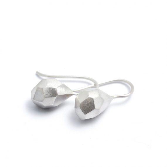 Solid Silver Flint Drop Earrings