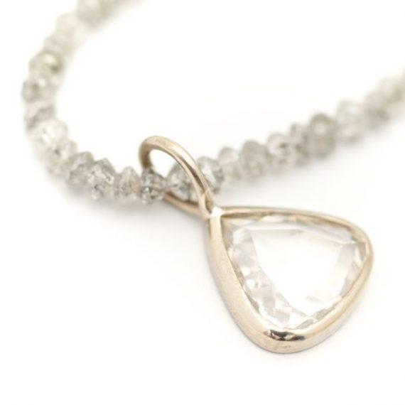 Grey diamond bead necklace with diamond drop