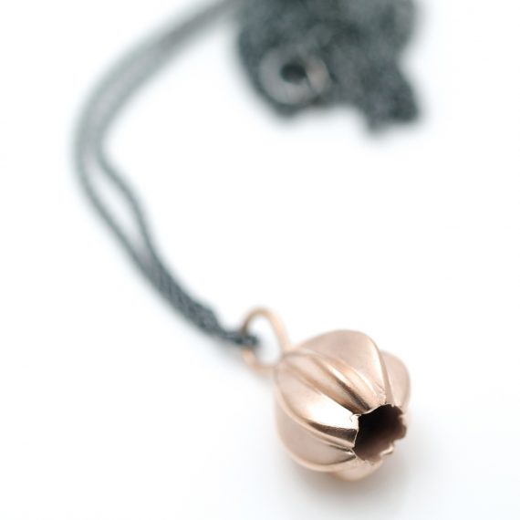 rose gold plated little gem necklace on oxidised chain