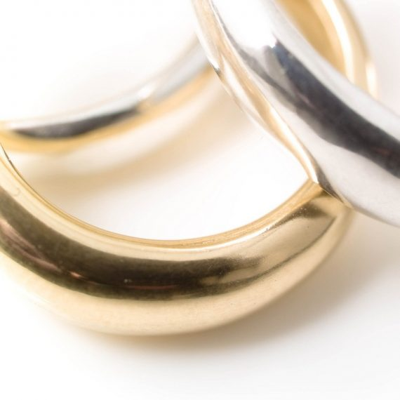 Silver and gold chunky rings
