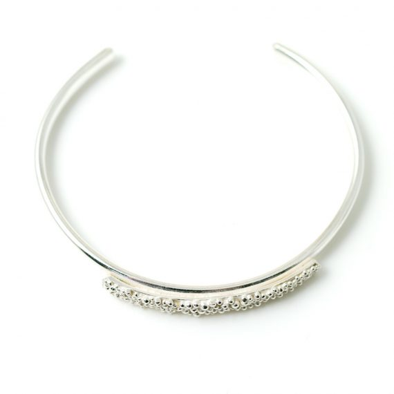 silver narrow beaded top cuff