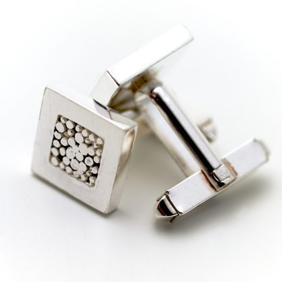 Silver square simple cufflinks with beaded centre and bar fitting