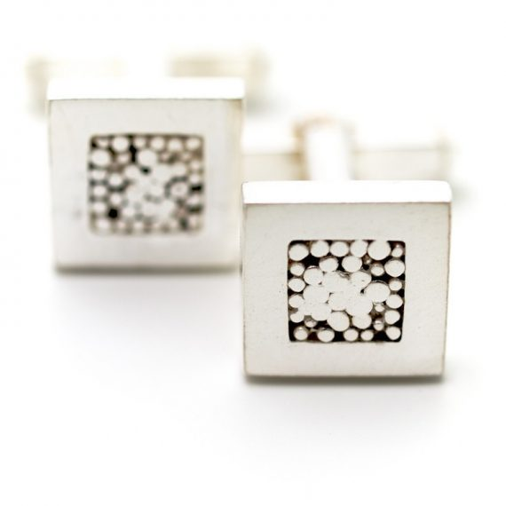 Square silver cufflinks with beaded detail and levered bar fitting