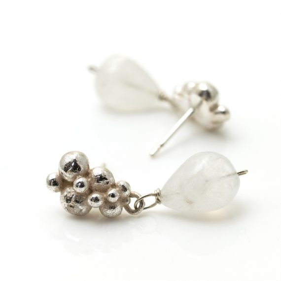 silver beaded stud earring with drop moonstone