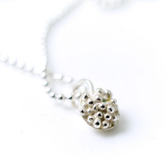 Silver tiny beaded necklace on ball chain