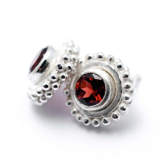 Beaded stud earrings with hand set Garnet