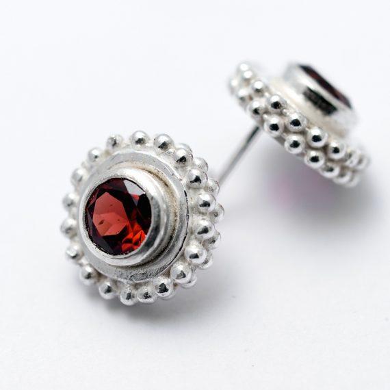 Beaded stud earrings with hand set Garnets