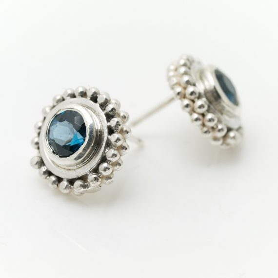 Silver beaded ring earrings with London Blue Topaz