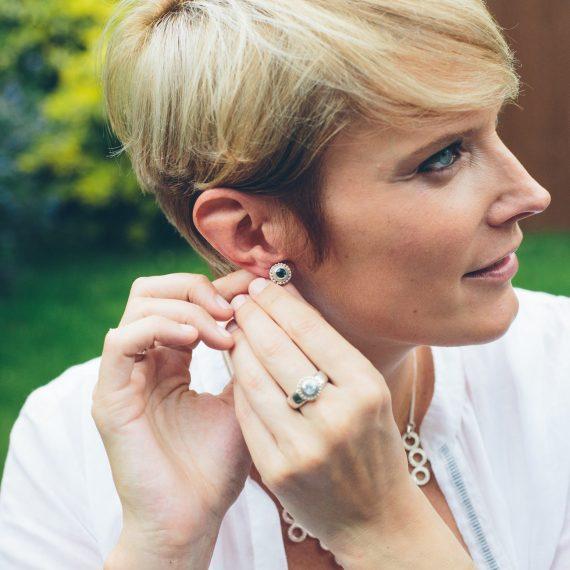 Silver beaded ring Topaz stud earrings