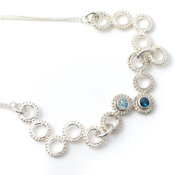 Statement beaded ring necklace with pale blue and London blue set Topaz