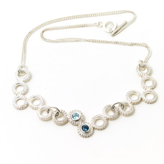 Silver beaded ring statement necklace with pale blue and London Blue Topaz
