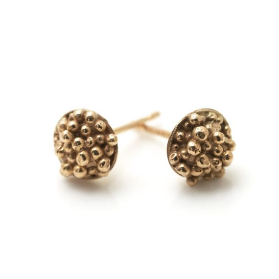 Tiny gold beaded studs
