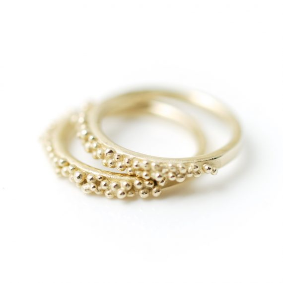 9ct gold beaded rings