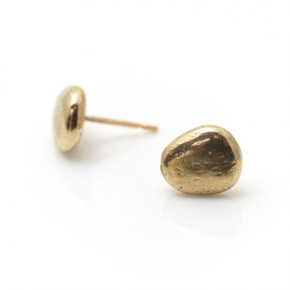 9ct solid gold pebble stud earrings
