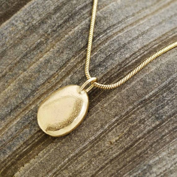 9ct gold oval pebble necklace on snake chain