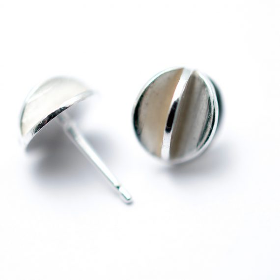 Small round silver pod stud earring