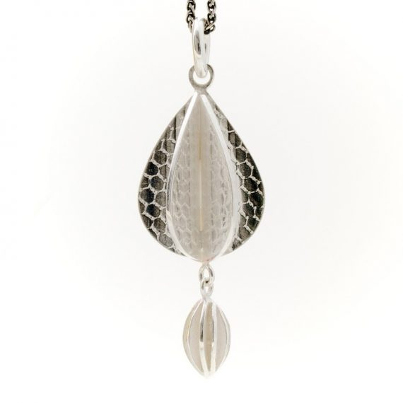 Silver constructed pod necklace with additional silver pod drop