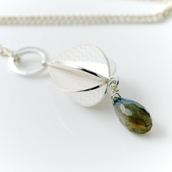 silver constructed pod necklace with Labradorite drop