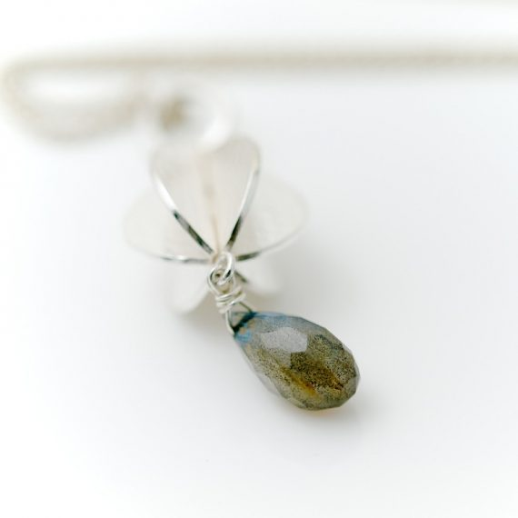 Silver constructed pod long necklace with labradorite
