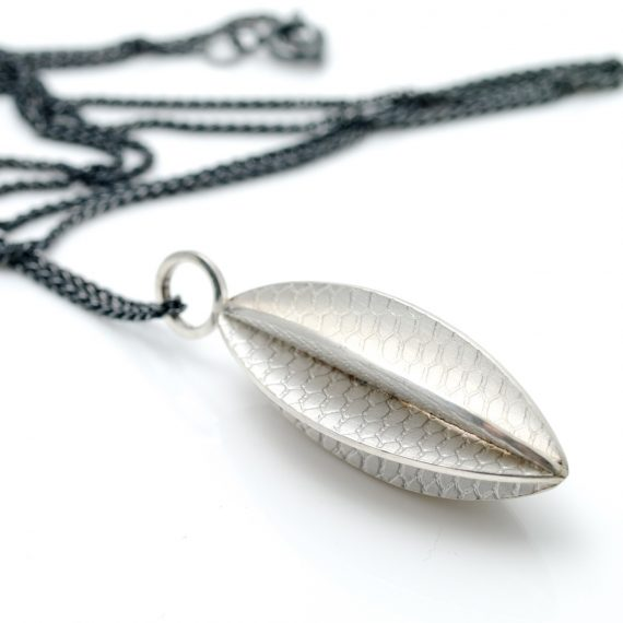 silver long seed pod necklace with oxidised silver chain