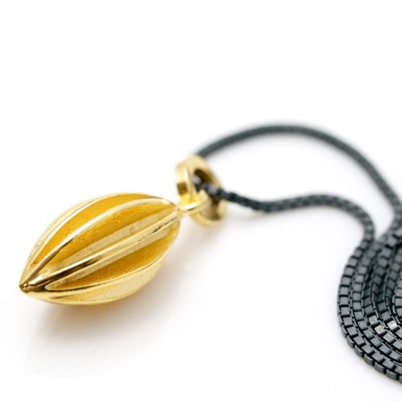 gold vermeil pod drop necklace on oyxdised silver box chain