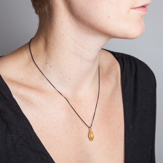 Medium gold plated pod necklace on 45cm oxydised silver chain