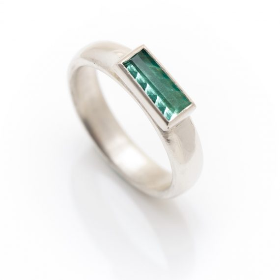 silver ring with rectangular geometric tourmaline