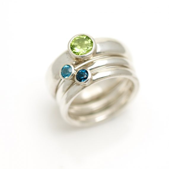 silver shallow stacking rings with semi precious stones