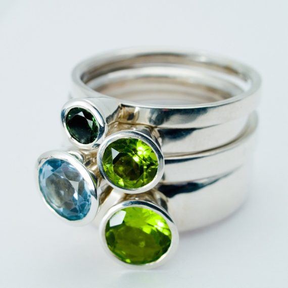 Set of 4 high stacking rings with Topaz, Peridot and Tourmaline