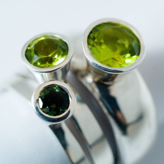 Set of 3 high stacking rings with Peridot and Tourmaline