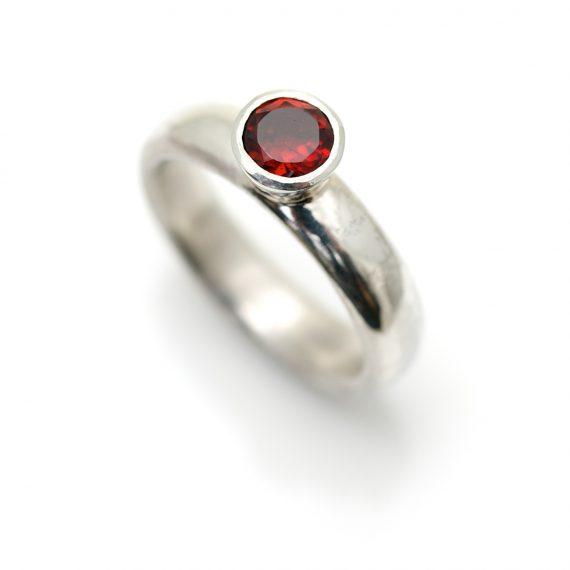 Medium silver rings, part of stacking ring set, Garnet